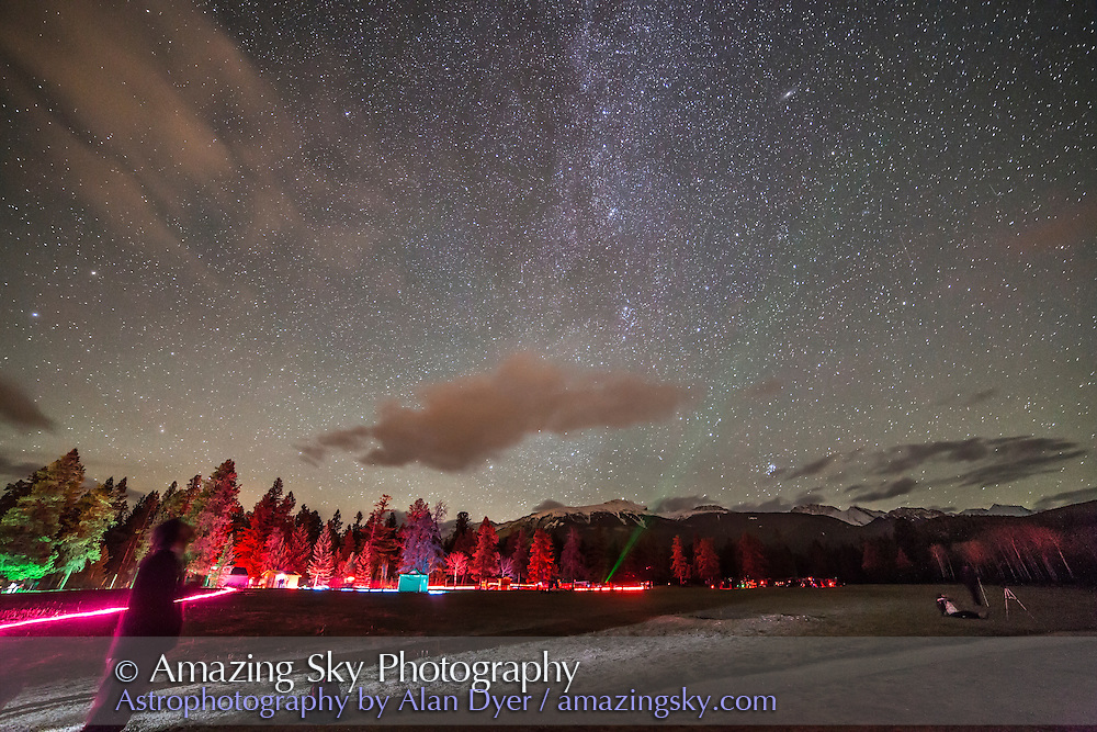 A view over the field at the Lake Annette Star Party, Friday, Oct. 24, 2014 at the Jasper Dark Sky Festival. This is a single frame from a time-lapse movie.