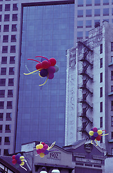 colorful ballons and architectural detail of  building.