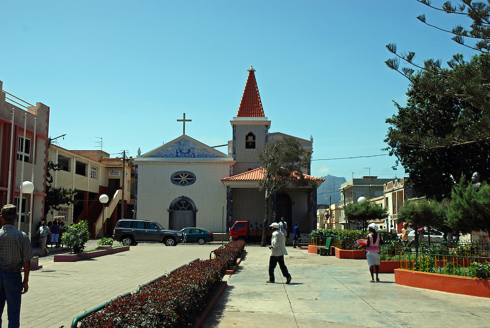 The Main Square, Assomada, Santiago Island, Cape Verde Islands, with the Church of Nossa Senhora de Fátima (church of Our Lady of Fatima) in the background.