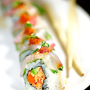 SHOT 2/17/12 5:57:17 PM - The Shiso Spicy roll at TAG | RAW BAR restaurant on Larimer Square in downtown Denver, Co. The restaurant is operated by chef/owner Troy Guard. TAG | RAW BAR focuses on light and healthy plates highlighted by elegant cocktails. The Shiso Spicy roll features kampachi, spicy crab, gobo, shiso and daikon Oroshi $12..(Photo by Marc Piscotty / © 2012)
