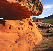 BB02643-01...NEVADA - The Piano, a piece of weathered and eroded red rock sandstone in the Valley of Fire State Park.