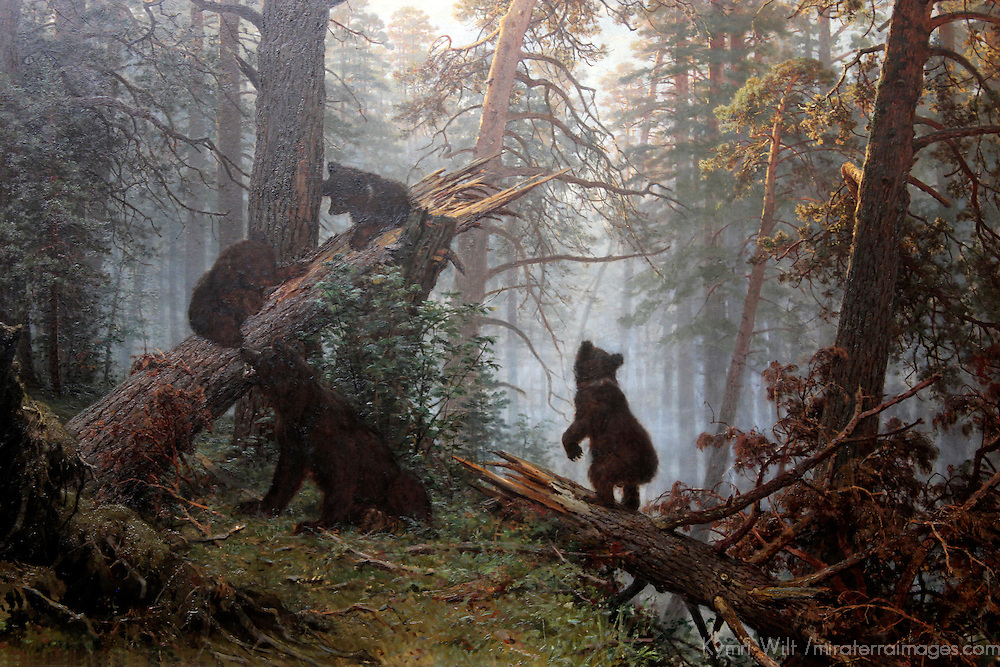 Europe, Russia, Moscow. Morning in the Pine Forest, by Ivan Shishkin, Tretyakov Gallery, Moscow.