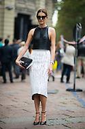 Balenciaga Crackle Skirt, Outside the Gucci Show