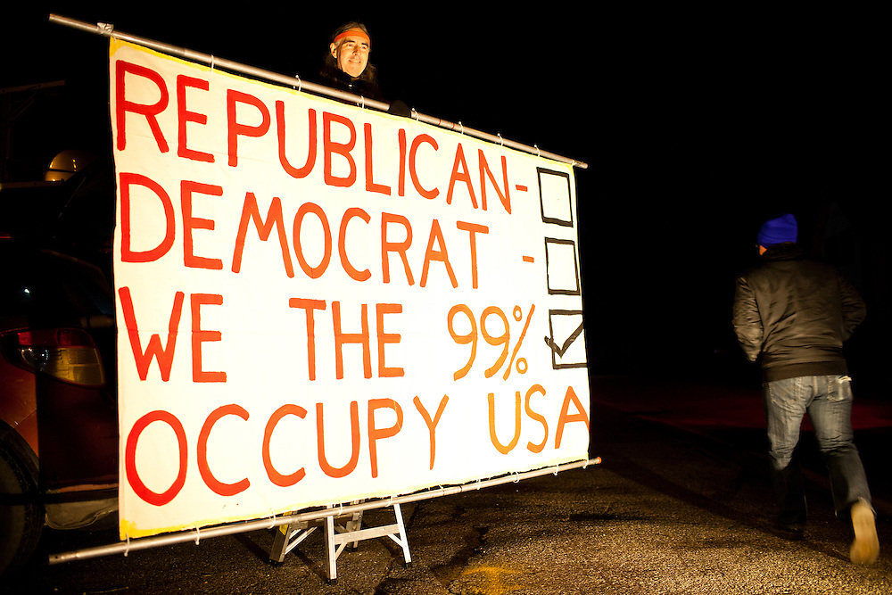 A'lynn Hayward protests outside the site of the WMUR/ABC News Debate at Saint Anselm College on Saturday, January 7, 2012 in Manchester, NH. Brendan Hoffman for the New York Times