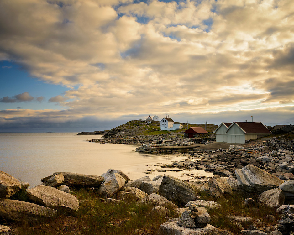 The coastline around the lighthouse at Fjøløy, Rogaland, Norway.