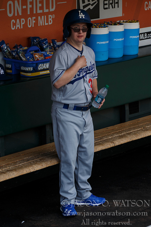 SAN FRANCISCO, CA - OCTOBER 02: Champ Pederson of the Los Angeles Dodgers stands in the dugout before the game against the San Francisco Giants at AT&T Park on October 2, 2016 in San Francisco, California. The San Francisco Giants defeated the Los Angeles Dodgers 7-1. (Photo by Jason O. Watson/Getty Images) *** Local Caption *** Champ Pederson