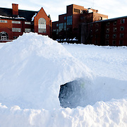 20110131 - Medford/Somerville, Mass. - An igloo stands in the center of the residential quad of the Medford/Somerville campus on Jan. 31, 2011. A record amount of snow in the month of January made it possible to construct the free-standing snow hut, which can seat up to 10 people, according to its builder, Engineering student Chris Barry (E13)....(Kelvin Ma/Tufts University)