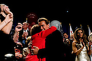 California Governor Arnold Schwarzenegger greets Republican supporters after being re-elected in a landslide victory over his Democratic challenger, State Treasurer Phil Angelides, during a GOP victory party at the Beverly Hilton in Beverly Hills, CA on Tuesday, November 7, 2006.