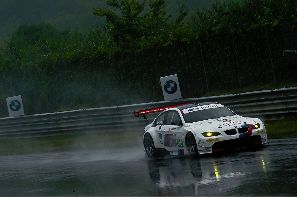 Team RLL BMW E92 M3 (55) in the rain. American Le Mans Northeast Grand Prix, ALMS Rd3, Lime Rock Park, Lakeville CT USA 08-09 June, 2011  © 2011 Scott LePage  http://MotorRacingPhoto.com