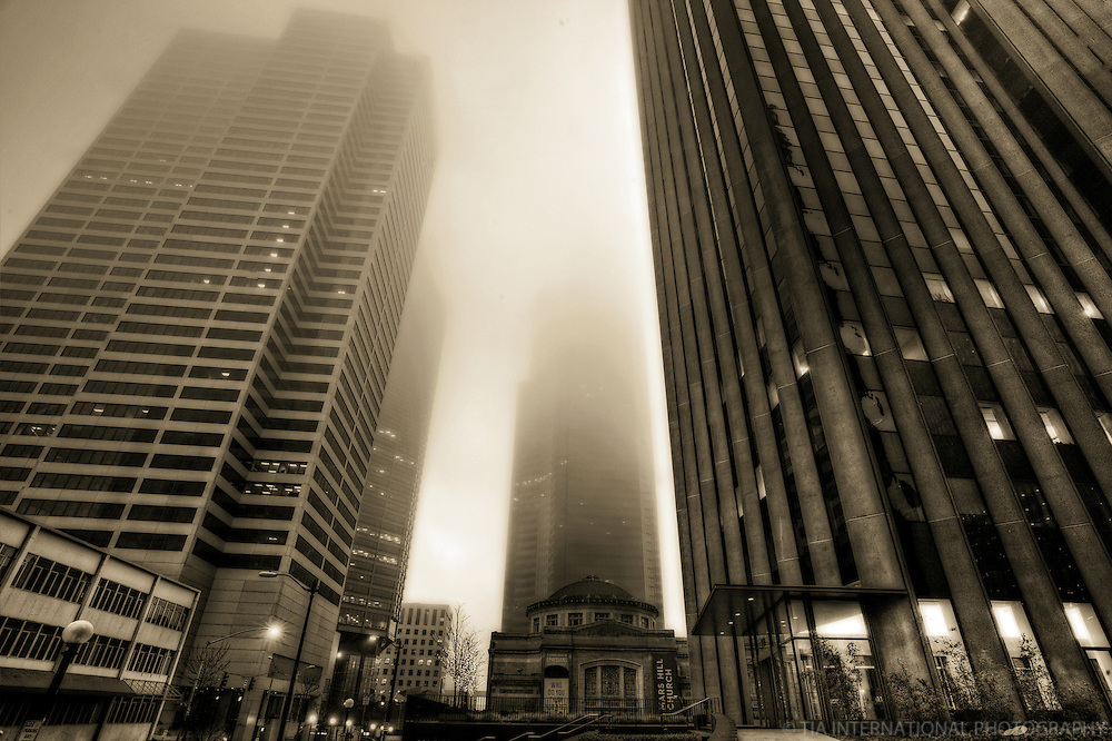 The Columbia Center (Seattle's Tallest Building) Engulfed in Fog