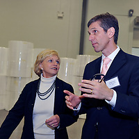 Herminio Freitas, Chief Executive Officer,  Providencia , and NC Governor Bev Perdue, at ribbon cutting and expansion announcment of Providencia USA near Statesville, NC  01/2011