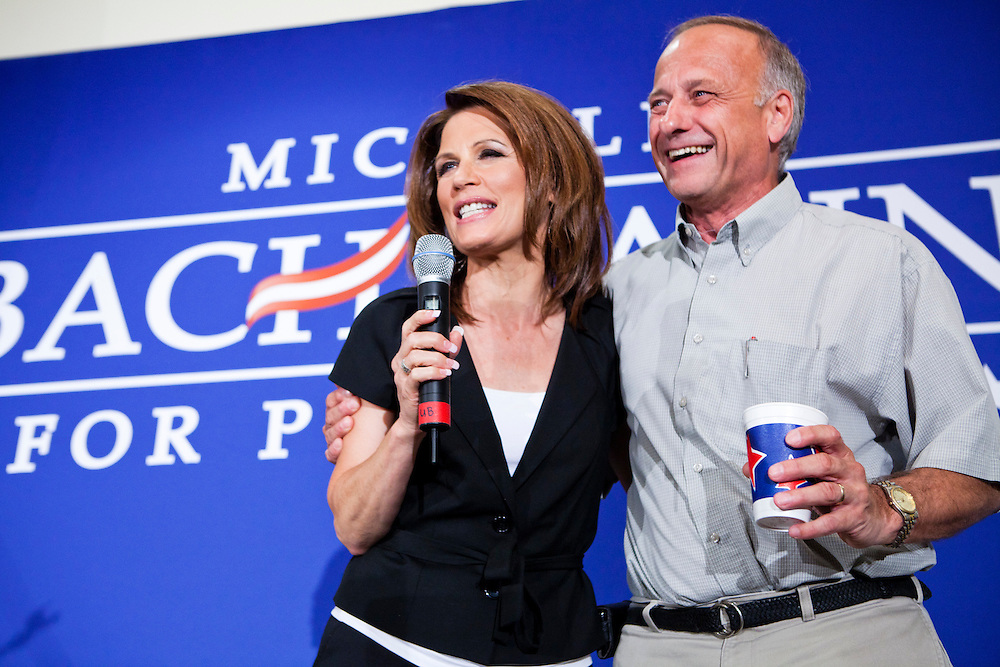 Rep. Steve King (R-IA), left, embraces Republican presidential candidate Rep. Michele Bachmann (R-MN) during a campaign stop at the Calhoun County Republican Party dinner on Monday, August 8, 2011 in Rockwell City, IA.