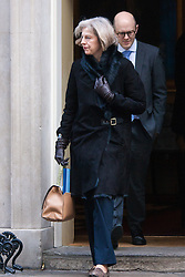 Downing Street, London, January 27th 2015. Ministers attend the weekly cabinet meeting at Downing Street. PICTURED: Home Secretary Theresa May leaves ythe cabinet meeting