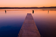USA. Idaho, McCall. Dock at twilight with Payette Lake.