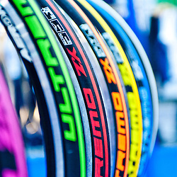 London, UK - 17 January 2013: tyres at the London Bike show 2013 at Excel.