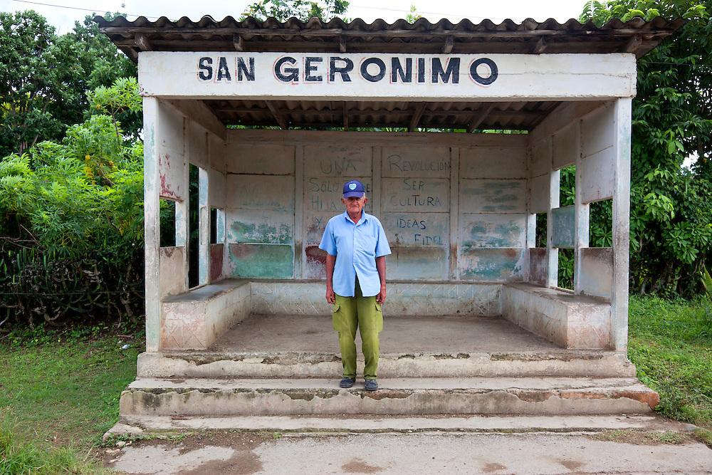 Bus stop near Tacajo, Holguin, Cuba.
