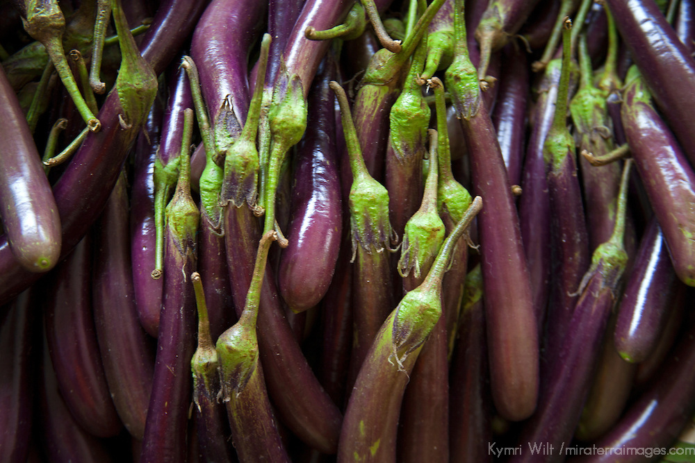 Asia, Bhutan, Trongsa. Eggplant in local market at Trongsa.