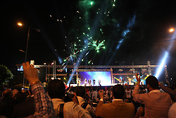 Fireworks went off above the crowd of thousands when Morsi first took to the stage..