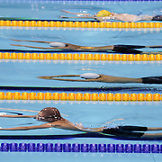 LONDON 2012 PARALYMPIC GAMES.. Pic shows   Paralympic swimmers in action at the Aquatics Centre on the Olympic Park on September 6th 2012.