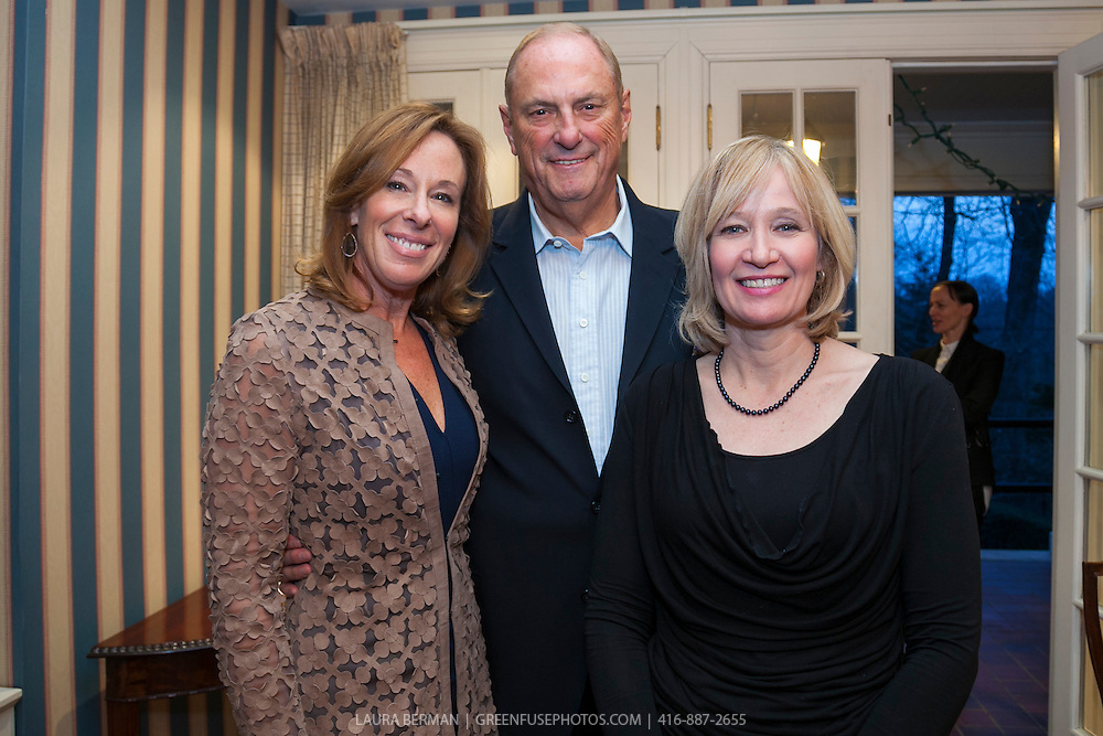 Jim and Sandi Treliving with guest of honour Laureen Harper at Trans Canada Trail, Chapter 150 reception with guest of honour Laureen Harper, at Valerie Pringle's house, April 23, 2013