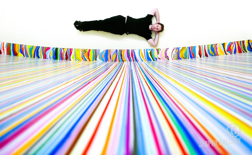 Ian Davenport 3 .Painter - Artist.With new work of art at Warwick University where he has used a masiv wall as a canvas..PIC BY JESPER BALLEBY