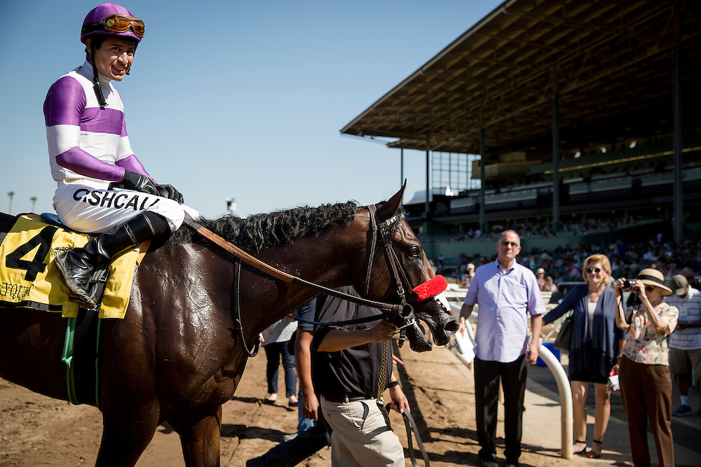 September 26 2015: Nyquist with Mario Gutierrez up wins the Frontrunner Stakes at Santa Anita Park, Arcadia CA. Alex Evers/ESW/CSM
