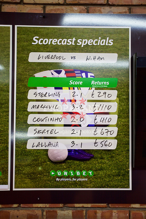 LIVERPOOL, ENGLAND - Saturday, January 31, 2015: Betting odds advertised inside the stadium before Liverpool take on West Ham United during the Premier League match at Anfield. (Pic by David Rawcliffe/Propaganda)