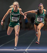 February 14, 2016: University of Alaska sprinter Rosie Hewitt (right) leans for the finish line in the 60 meter dash at the at UW Open Invite