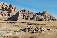 Herd of bighorn sheep in Badlands National Park, South Dakota