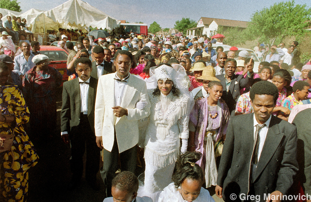 Zindzi Mandela, daughter of Nelson and Winnie,  celebrates her marriage to  Zweli Hlongwane, October 1992, in Soweto, Transvaal, South Africa.