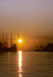 Shrimp Boats Sunset In Harbour