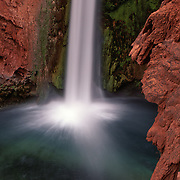 Turquoise pool at the base of lovely Mooney Falls, Havasu Canyon, AZ.