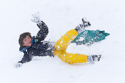 1/12/2010.Oisin Walsh Agnew (10) pictured sliding in the snow in Kilkenny yesterday..(Parents permission to photograph granted).Picture Dylan Vaughan