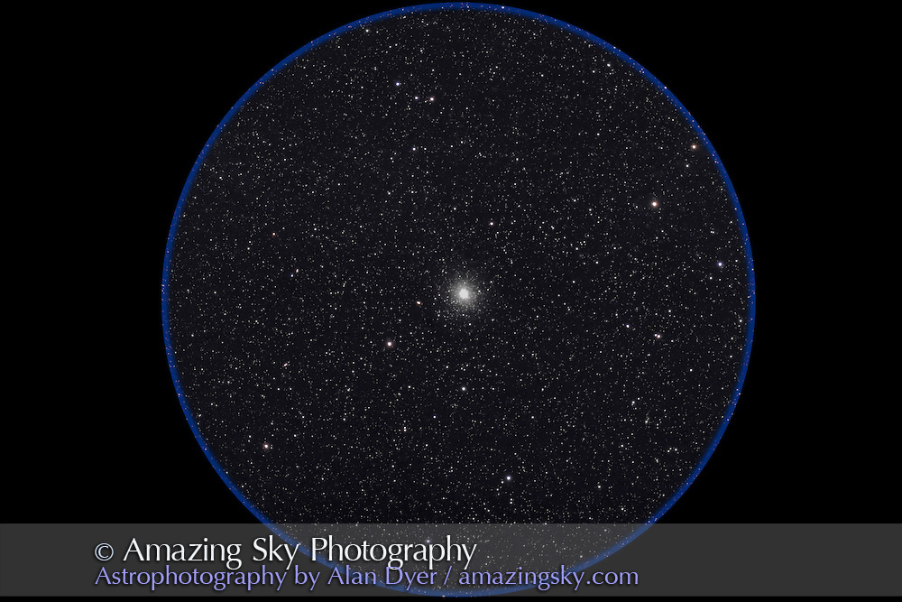 NGC 2808 globular cluster in Carina. Taken with 4-inch AP Traveler apo refractor at f/6 with Canon 5D camera at ISO 800 for stack of 4 x 7 minute exposures. Taken from Coonabarabran, NSW, April 22, 2007.