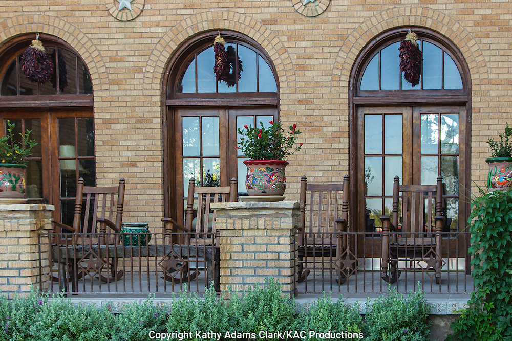 The Gage Hotel, located on US 90, Marathon, Texas, west Texas, patio with rocking chairs.