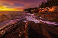 Beautiful sunrise along the rugge Atlantic coast of Acadia National Park, ME USA