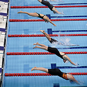 LONDON 2012 PARALYMPIC GAMES. Pic shows   Paralympic swimmers in action at the Aquatics Centre on the Olympic Park on September 6th 2012.