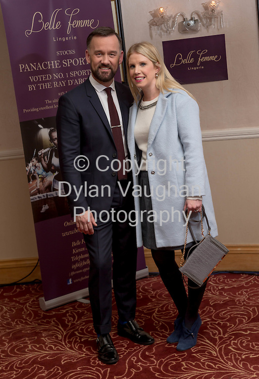 Repro free no charge for repro<br /> <br /> 27/11/14<br /> &lsquo;Get Fitted for Christmas&rsquo; with Belle Femme Lingerie and Brendan Courtney<br />  <br /> Belle Femme Lingerie Boutique hosted their &lsquo;Get Fitted for Christmas&rsquo; style evening with RTE&rsquo;s Brendan Courtney in a fun and festive lingerie showcase on Thursday, November 27th at the Rivercourt Hotel in Kilkenny City.<br /> <br /> Pictured at the event was Brendan Courtney and Louise Ryall from Kilkenny.<br />  <br /> Ladies were invited to come along and enjoy a glass of mulled wine, while taking in a fashion show of the latest designs in lingerie-wear for the festive season.<br />  <br /> Brendan Courtney of RTE&rsquo;s Off The Rails fashion programme hosted the event and offered guests advice and style tips on dressing to impress for Christmas party nights.<br />  <br /> Proprietor of Belle Femme Lingerie, Bridget Kearney was also available for lingerie fitting and there were several fitting rooms on site for those who wish to &lsquo;get fitted for Christmas&rsquo;!<br /> Picture Dylan Vaughan.
