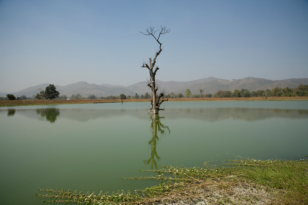 Effluents from the Vedanta bauxite treatment plant flow into a lake. Lanjgarh, Orissa, India