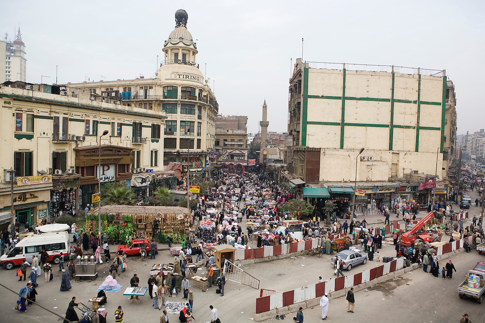 People shop at a market in Cairo.