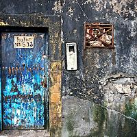 An address on a blue door in the Atlantic coastal city of Essouira, Morocco.