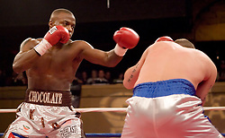 """February 22, 2007 - New York, NY - Peter """"Kid Chocolate"""" Quillen knocks out Steve Walker in the first round of their bout at Roseland Ballroom."""