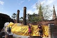 Reclining Buddha at Wat Yai Chai Mongkhan - Wat Yai Chai Mongkhon or the Great Monastery of Auspicious Victory was also known by other names: Wat Pa Kaeo, Wat Chao Phraya Thai and Wat Yai Chaya Mongkhon.