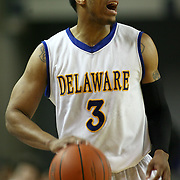 Senior Guard (#3) Jawan Carter attempts to pass the ball in the second half. Delaware defeated Towson 80-70 at The Bob Carpenter Center Wednesday night In Newark Delaware.