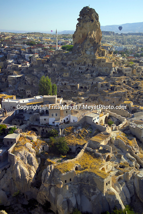 Goreme, Cappadocia, Nevsehir, Turkey. The Village of ortahisar. A hot air balloon flight is one of the best ways to explore the fairy chimney landscape of Cappadocia and the Gorme National Park. Photo by Frits Meyst/Adventure4ever.com