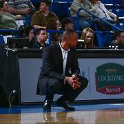 Delaware 87ers Head Coach EUGENE BURROUGHS watches the play develop at the end of the court in the second half of an NBA D-league regular season game between the Delaware 87ers and the Salt Lake City Stars (Utah Jazz) Friday, March 17, 2017 at The Bob Carpenter Sports Convocation Center in Newark, DEL