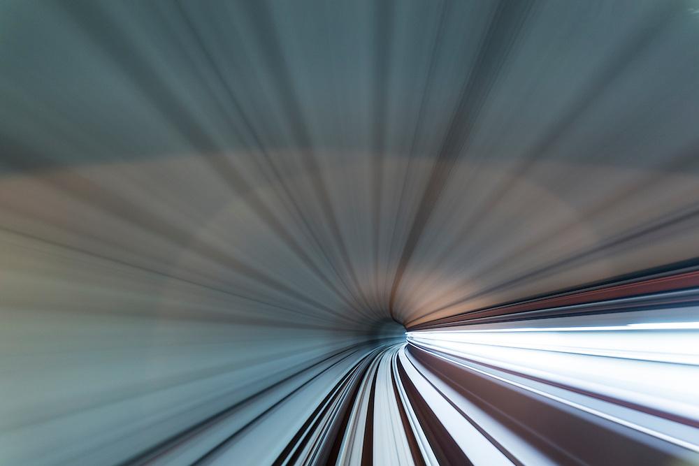 Asia, Malaysia, Kuala Lumpur, Blurred view of  tunnel from Rapid KL subway car on Kelana Jaya Line
