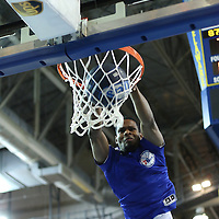 Philadelphia flight squad member dunking the ball at half time of a NBA D-league regular season basketball game between the Delaware 87ers (76ers) and the Sioux Falls Skyforce (Miami Heat) Friday, Feb. 28, 2014 at The Bob Carpenter Sports Convocation Center in Newark, DEL