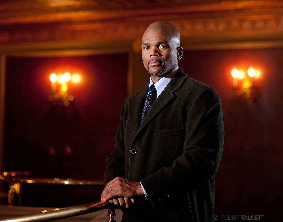 WATERBURY, CONNECTICUT- January 8, 2011: Hip-Hop icon Darryl McDaniels a.k.a. D.M.C. formerly of the legendary rap group Run-DMC photographed on the motion picture set of Hard Luck.    (Photo by Robert Falcetti). .