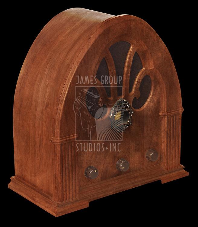 Gothic radio on black, isometric view